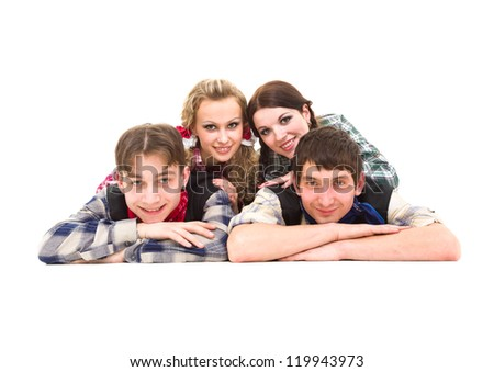 Group of smiling teenagers on a white background - stock photo