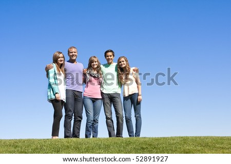 Group of Smiling Young Adults - stock photo