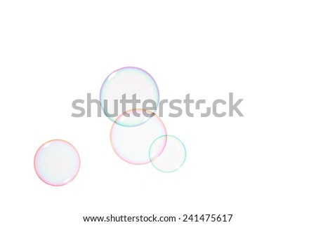 Group of soap bubbles on a white background - stock photo