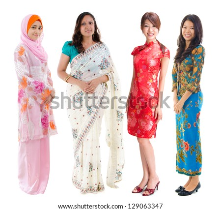 Group of Southeast Asian women in different culture. Full body diversity women in different traditional costume standing on white background. - stock photo