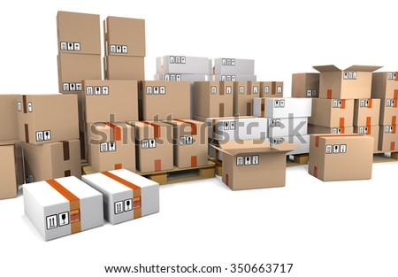 Group of stacked cardboard boxes on wooden shipping pallets isolated on white background. - stock photo