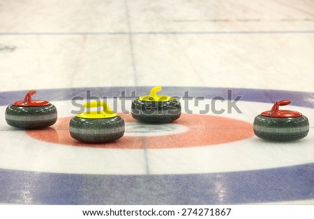 Group of stones for curlinggame  in curling on ice - stock photo