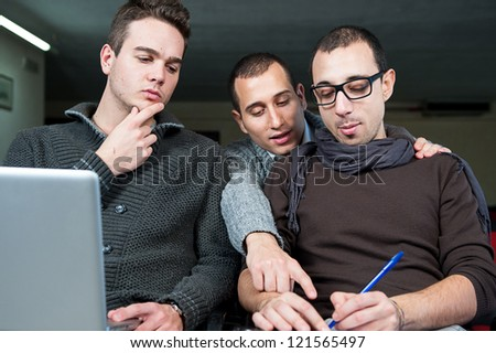 Group of students is preparing for University lesson,Italy - stock photo