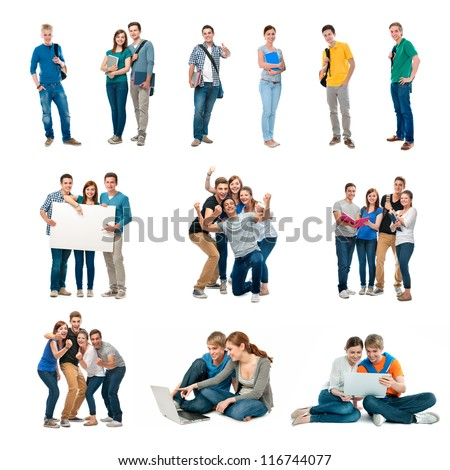 Group of students. Isolated over white background - stock photo