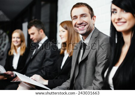 Group of students waiting for exam - stock photo
