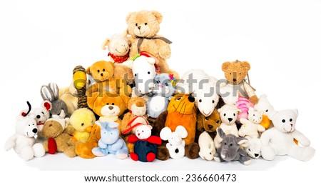 Group of stuffed animals - stock photo