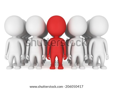 Group of stylized white people with red teamleader stand on white. Isolated 3d render icon. Teamwork, business, army, out of crowd concept. - stock photo