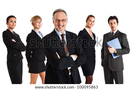 Group of successful business people and their leader - stock photo