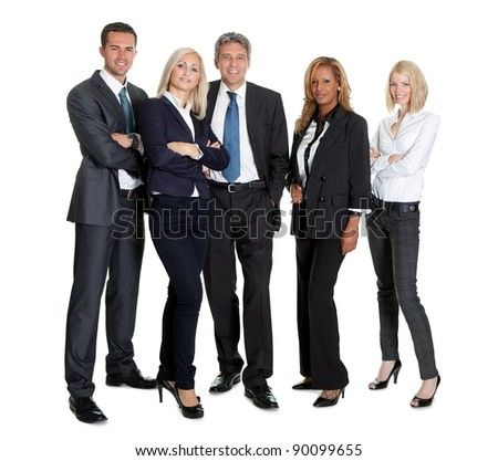 Group of successful business people standing together on white background - stock photo