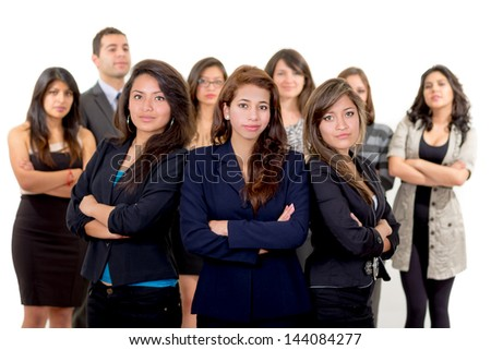 Group of successful hispanic business people - stock photo