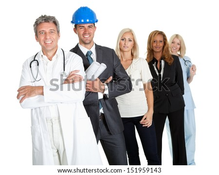 Group of successful working people illustrating different career options on white - stock photo