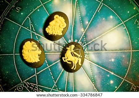 group of symbols of astrology signs of fire  - stock photo