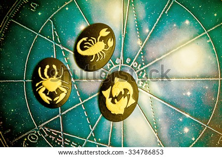 group of symbols of astrology signs of water - stock photo