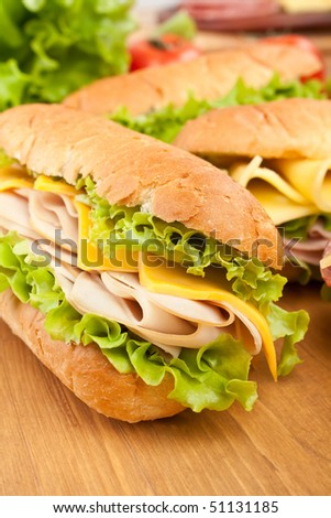 group of tasty sandwiches - stock photo