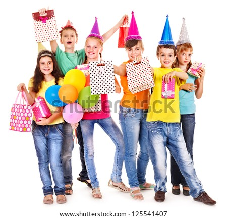 Group of teen people in party hat. Isolated. - stock photo