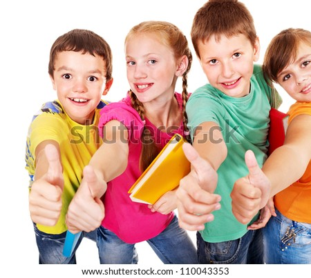 Group of teen school child thumb up.  Isolated. - stock photo