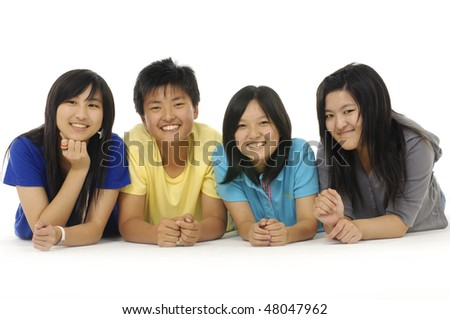Group of Teenage Friends in Studio - stock photo