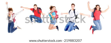 group of teenagers jumping isolated in white - stock photo