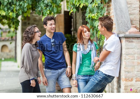 Group of Teenagers Outside - stock photo