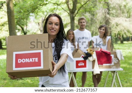group of teenagers volunteering - stock photo