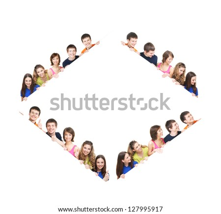 Group of teenagers with a giant, blank, white billboard - set, made of different images - stock photo