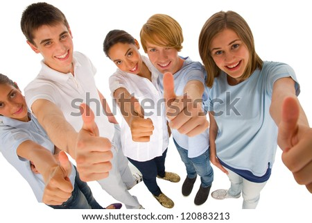 group of teenagers with thumbs up - stock photo