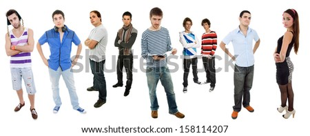 group of teens full lenght, isolated on white - stock photo