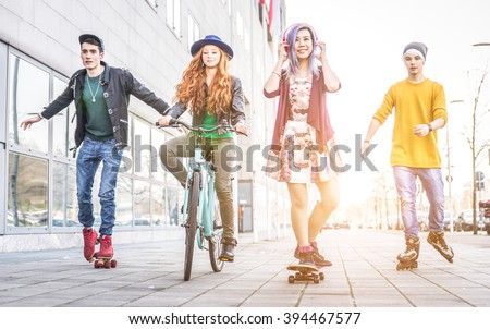 Group of teens making activities in an urban area. concept about youth and friendship - stock photo