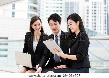 Group of the business people discuss about the project planning - stock photo