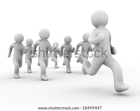group of the people runs on white background - stock photo