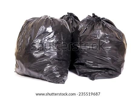 Group of three bag of trash - stock photo