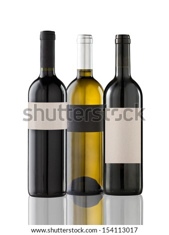 Group of three bottles on white - stock photo