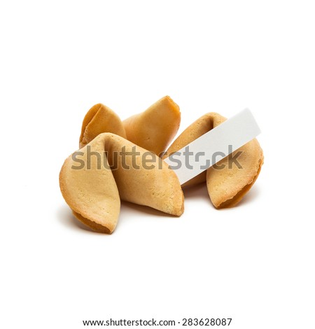 group of three fortune cookies with a massage note on white background - stock photo