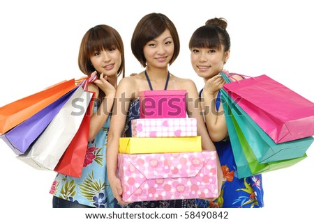 group of three friends happy shopping - stock photo