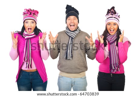 Group of three people standing in a row,wearing woolen clothes and shouting together isolated on white background - stock photo
