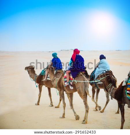 Group of tourists going for a desert camel safari. Sahara landscape, Tunisia - stock photo