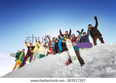 Group of tourists having fun at ski and snowboard resort Sheregesh. Siberia, Russia - stock photo