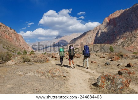 Group of trekkers in the Fany mountain - stock photo