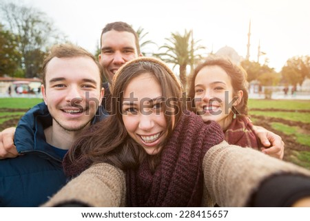 Group of Turkish Friends taking Selfie in Istanbul - stock photo