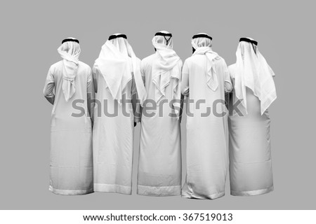 group of unknown arab persons - stock photo