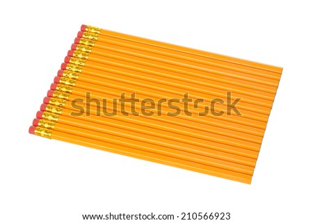 Group of unsharpened pencils on a white background - stock photo