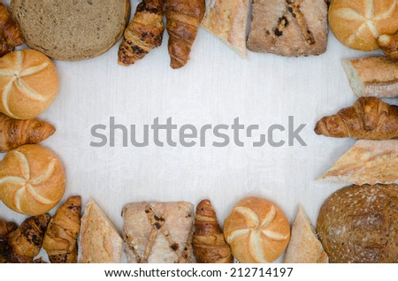 group of variety  bread products - stock photo