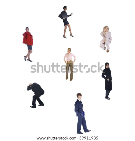 Group of various business people in the circle isolated over white - stock photo