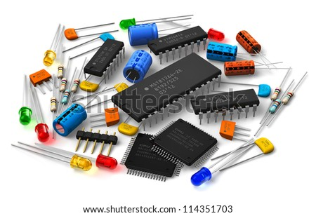 Group of various electronic components: microprocessors, logical digital microchips, transistors, capacitors, resistors, LEDs etc. isolated on white background - stock photo