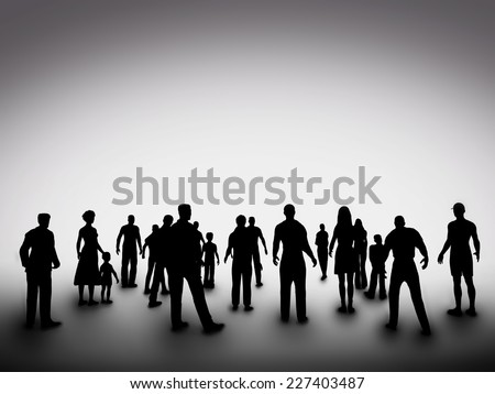 Group of various people silhouettes standing and looking ahead. Concept of society, community, business, urban life, diversity etc - stock photo