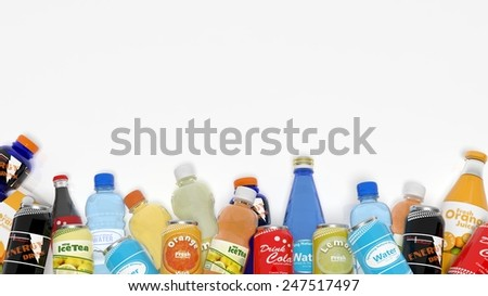 Group of various refreshments isolated on white - stock photo