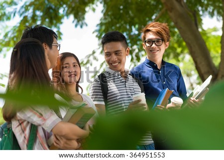 Group of Vietnamese college students on campus - stock photo