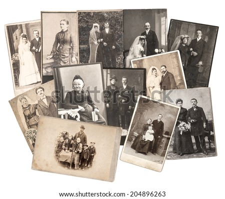 group of vintage family and wedding photos circa 1885-1900. nostalgic sentimental pictures collage on white background. original photos with scratches and film grain - stock photo