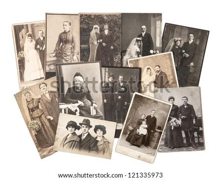 group of vintage family and wedding photos circa 1890-1920. nostalgic sentimental pictures on white background - stock photo