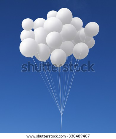 group of white balloons flying in the sky , with clipping path .  - stock photo